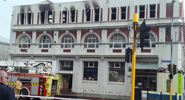 Cordoned off Thain building after the fire