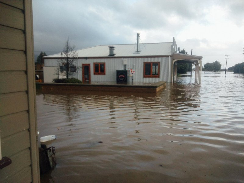 Tap & Dough Bistro in flood waters